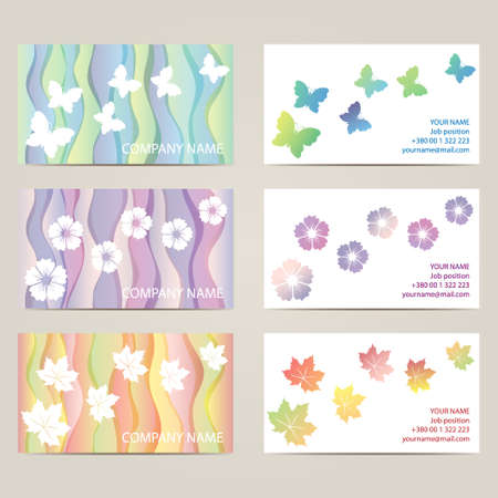 sides: Set horizontal business cards with 2 sides. Illustration