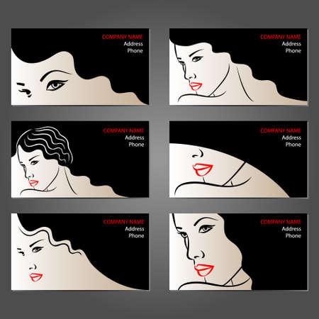Conjunto de tarjetas de visita para salones de belleza, maquilladores, peluqueros y estilistas. Fondo con hermosas caras mujer.