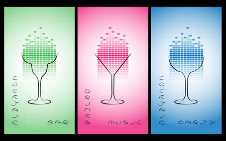 equalize: Collection of cocktail party poster, flyer, invitation or banner. Design template for cocktail bar business cards with glasses and equalize. Disco background. Illustration