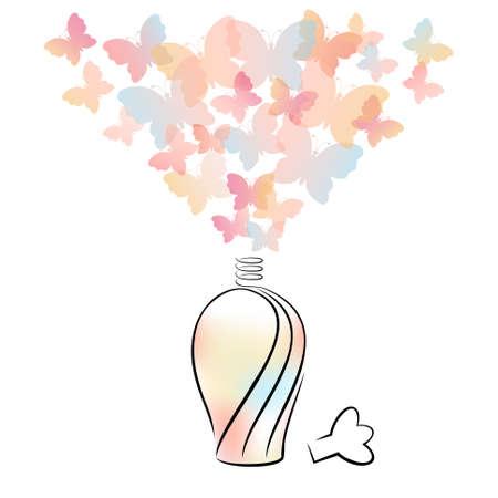 Flacon de parfum avec des papillons