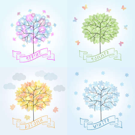 Tree in four seasons - spring, summer, autumn, winter. Cartoon illustration representing the seasons cycle.