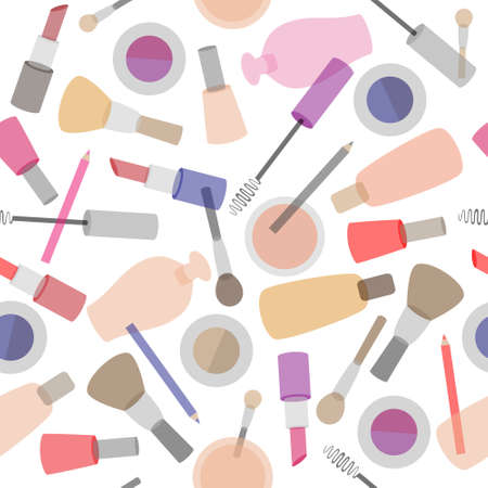 Decorative cosmetics seamless pattern on white background. Make-up items.