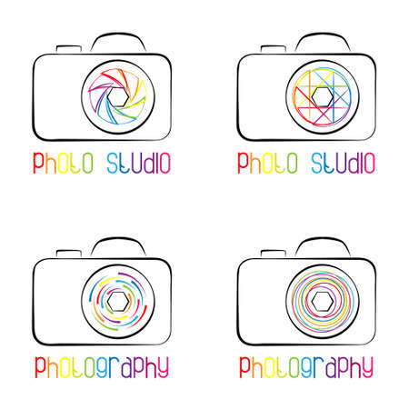 diaphragm: Set of photo camera symbols,  icons and labels. template for photography studio, photographer, photo company, web site. Colorful diaphragm. Illustration
