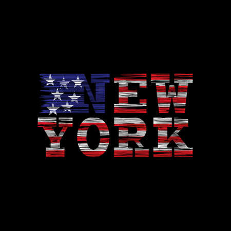 New York Typography on a black background with the American flag in a grunge style. Vintage concept for print production. T-shirt fashion Design. Template for postcard, banner, flyer.