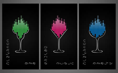 equalize: Collection of cocktail party poster, invitation or banner. Design template for cocktail bar business cards with glasses and equalize.