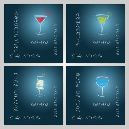 blue lagoon: Set of design template for cocktail bar business cards. Illustration