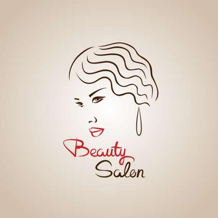 Volto di donna silhouette. concetto di disegno astratto per il salone di bellezza e spa, cosmetici e temi di moda.