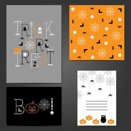 Set Of Halloween Greeting Cards Illustration