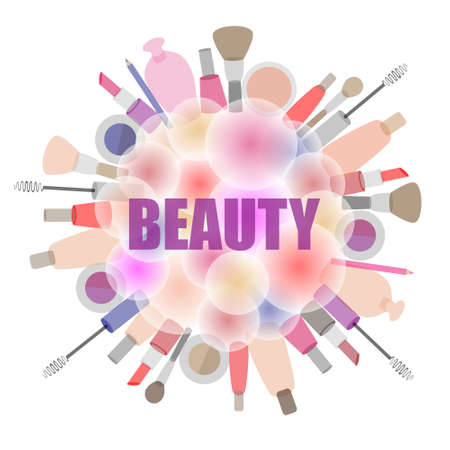 Background with cosmetics and beauty products, the emblem for beauty salons and stores