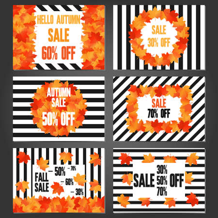 Set of autumn sale banners and promotional flyer templates set of autumn sale banners and promotional flyer templates typography discount cards design posters maxwellsz