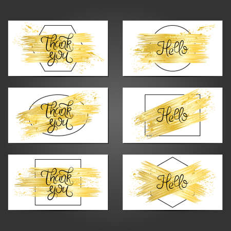 Collection of 6 vintage card templates with golden brushstrokes on white background. For the wedding, marriage, save the date cards, invitations, greetings. Grunge retro design with golden paint. Illusztráció