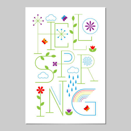 Hello Spring Lettering poster. Typographic Background with flowers, butterflies, clouds, rain and rainbows.