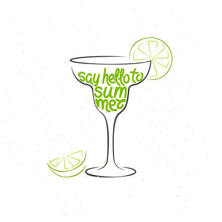 HI: Lettering Say Hello to Summer. Typographic background with cocktail in vintage style. Illustration