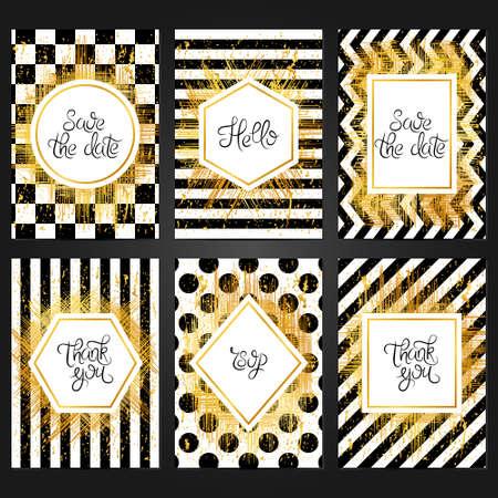 Collection de 6 modèles de cartes vintage en couleurs noir et blanc et avec un cadre doré. Pour le mariage, le mariage, enregistrez les cartes de date, les invitations, les salutations. Design rétro grunge avec peinture dorée. Banque d'images - 77169799