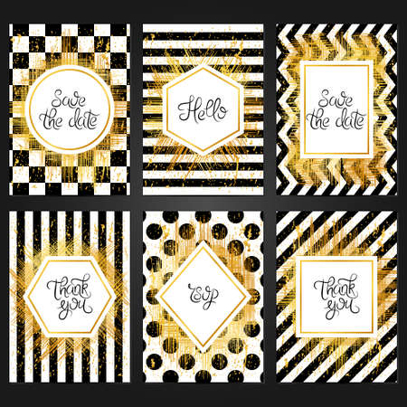 Collection of 6 vintage card templates  in black and white colors and with golden frame. For the wedding, marriage, save the date cards, invitations, greetings. Grunge retro design with golden paint. Иллюстрация