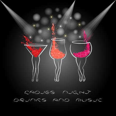 Cartel de la noche de las señoras con los cocteles. Diseñe para la invitación del partido de las mujeres, plantilla de la bandera. ilustración