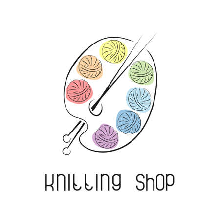 Emblem with yarn and knitting needles. Logo for knitting club, yarn store, handmade artist.Creative concept with a palette. Illusztráció