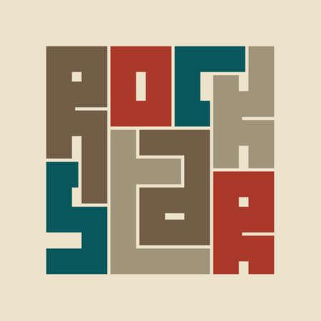 Rock Star Typography Graphics. Concept for print production. T-shirt fashion Design. Template for banner, sticker, concert, music label, sound emblem, poster. Illustration