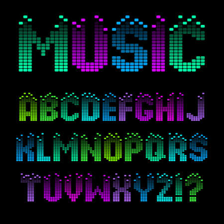 Alphabet in the form of an equalizer. Bright neon letters. Font for Musical Flyer, Night Party poster or Club Invitation. Çizim