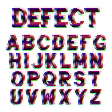 Decorative alphabet letters with Offset Printing effect. Vector font design. Illusztráció