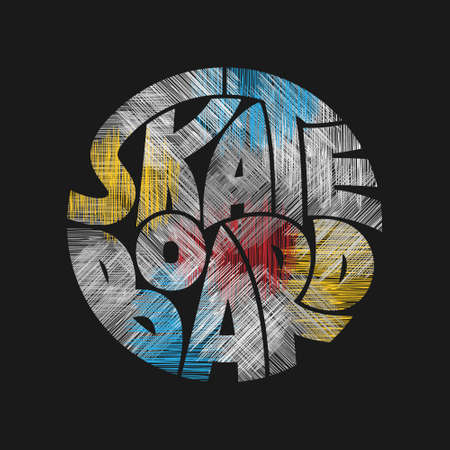 Skateboard typography graphics. Concept in grunge style for print production. T-shirt fashion Design. Template for poster, print, banner, flyer.