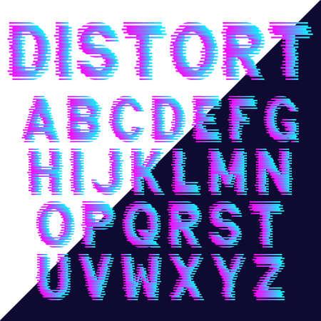 Decorative alphabet letters with glitch effect. Vector font design.