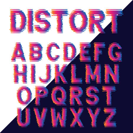 Decorative alphabet letters with electronic glitch effect. Vector font design.