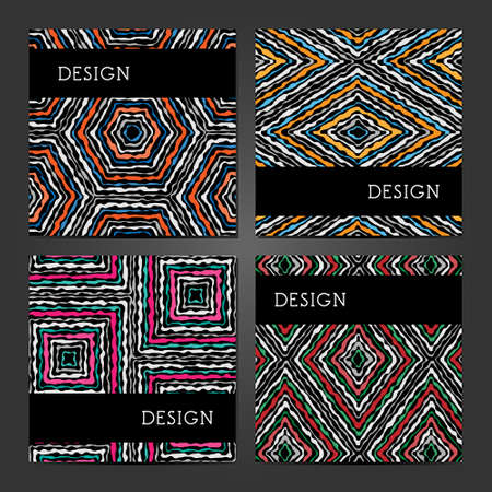 Collection of 4 vintage card templates with ethnic pattern. Template for Title sheet, report, presentation, brochure. Layout for banners, posters, flyers, invitations and gift cards. Abstract backgrounds.