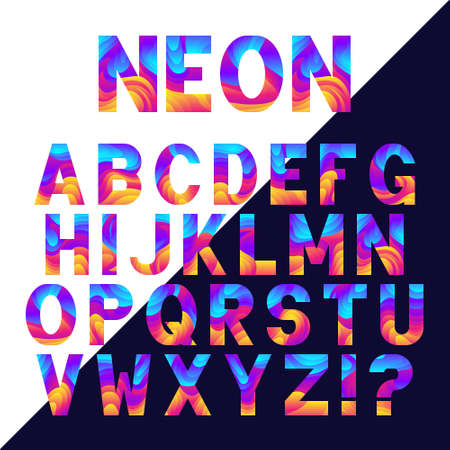 Bright neon alphabet  with fluid effect. Vector font design.