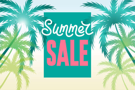 Summer sale banner with palms and sale text. Tropical background, design template. Big discount.
