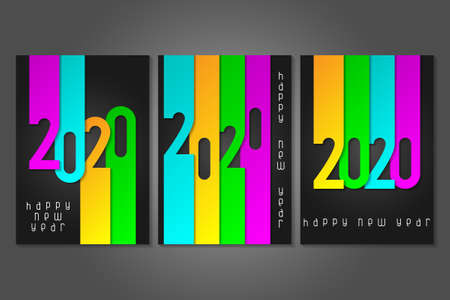 Set of Happy New Year 2020 posters with numbers cut out of colored paper. Winter holidays greeting or invitation. Vector illustration on black background. Illusztráció