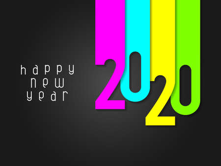 Happy New Year 2020 poster with numbers cut out of colored paper. Winter holidays greeting or invitation. Vector illustration on black background.