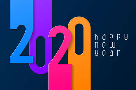 Happy New Year 2020 poster with numbers cut out of colored paper. Winter holidays greeting or invitation. Vector illustration on blue background.
