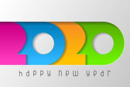 Happy New Year 2020 poster with numbers cut out of colored paper. Winter holidays greeting or invitation. Vector illustration on white background.