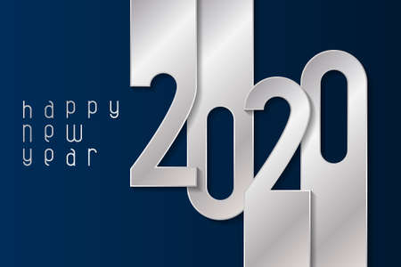 Happy New Year 2020 poster with silver numbers. Winter holidays greeting or invitation. Vector illustration on blue background.