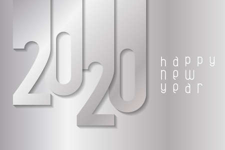 Happy New Year 2020 poster with silver numbers. Winter holidays greeting or invitation. Vector illustration on silver background.