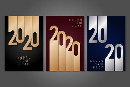 Set of Happy New Year 2020 posters with gold and silver numbers. Winter holidays greeting or invitation. Vector illustrations on dark backgrounds. Illusztráció