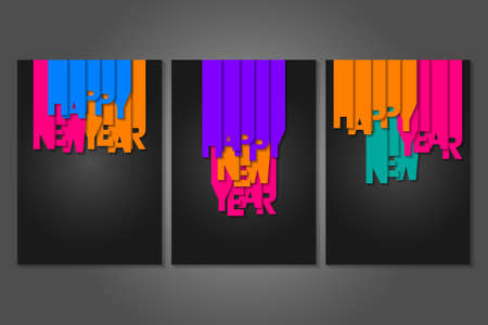 Set of Happy New Year posters with letters cut out of colored paper. Winter holidays greeting or invitation. Vector illustrations on black backgrounds. Illusztráció