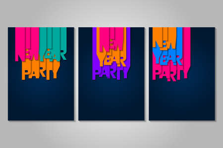 Set of New Year party posters with letters cut out of colored paper. Winter holidays greeting or invitation. Vector illustrations on blue backgrounds. Illusztráció