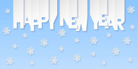 Happy New Year banner with letters cut out of white paper. Winter holidays greeting or invitation. Vector illustration on blue background. Illusztráció