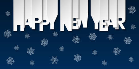 Happy New Year banner with numbers cut out of colored paper. Winter holidays greeting or invitation. Vector illustration on blue background.