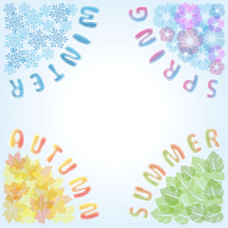 Four Seasons frame: spring, summer, autumn, winter.Cartoon illustration representing the seasons cycle. Illustration