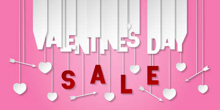 Valentines day sale banner with cut out letters, hearts and arrows. Shop market poster, header website, discount banner. Vector illustration on pink background.