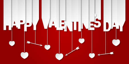 Happy Valentine's Day Lettering on red background. Banner with valentines symbols: hearts and arrows. Greeting card.