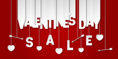 Valentines day sale banner with letters cut out of white paper. Banner with valentines symbols: hearts and arrows. Shop market poster, header website, discount banner. Vector illustration on red background.