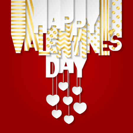 Happy Valentine's Day banner with letters cut out of white and gold paper. Banner with valentines symbols: hearts and arrows. Greeting card, web banner, invitation. Vector illustration on red background.