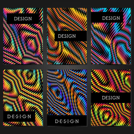 Collection of 6 card templates with glitch effect and frame for text. Layout for banners, posters, flyers, covers and invitations. Trendy design. Illusztráció