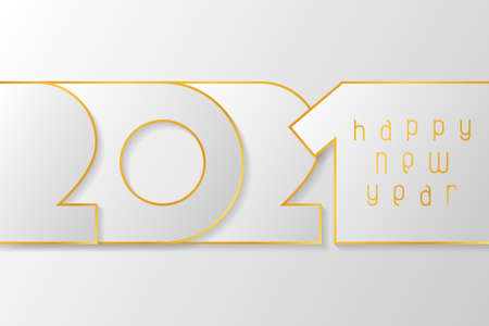 Happy New Year 2021 poster with numbers cut out of white paper with gold. Winter holidays greeting or invitation. Vector illustration on white background.