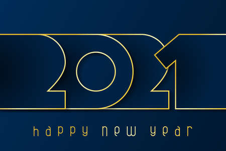 Happy New Year 2021 poster. Numbers cut out of blue paper with gold. Winter holidays greeting or invitation. Vector illustration on blue background.