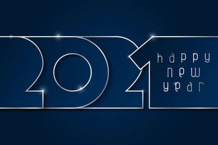 Happy New Year 2021 poster. Numbers cut out of blue paper with silver. Winter holidays greeting or invitation. Vector illustration on blue background.